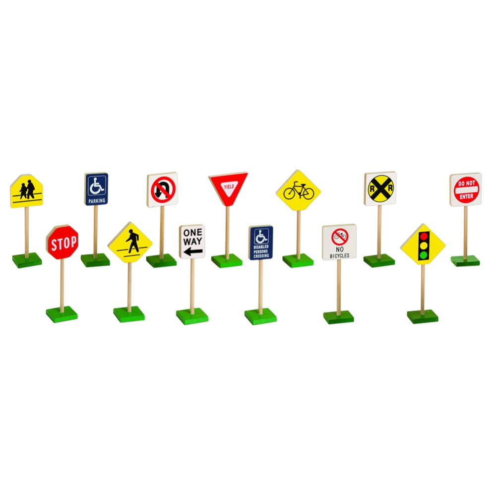 "Alternate Image #2 of Miniature Traffic Signs 7"" High 13 Piece Set"