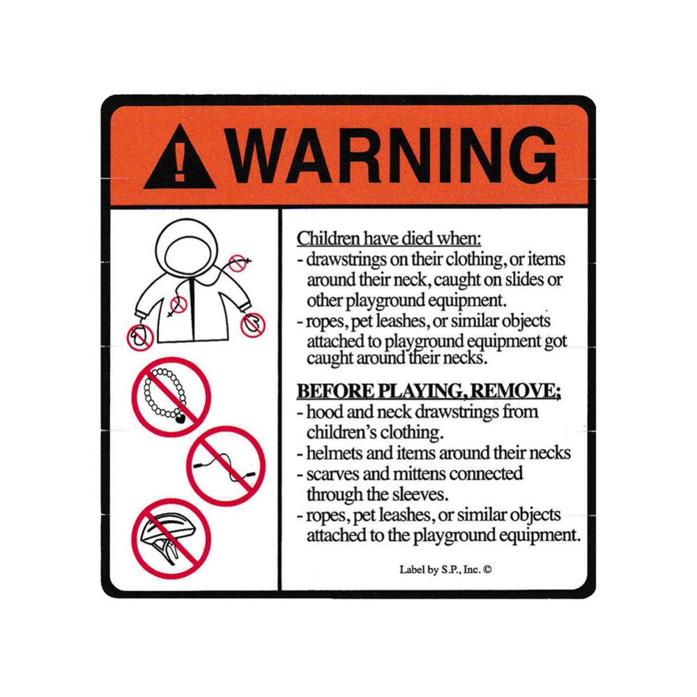 Stangulation Warning Label