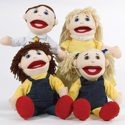 Caucasian Family Puppet Set