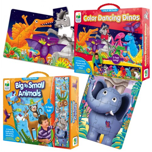 Long & Tall Puzzle Set - Big to Small Animals and Dancing Dinos