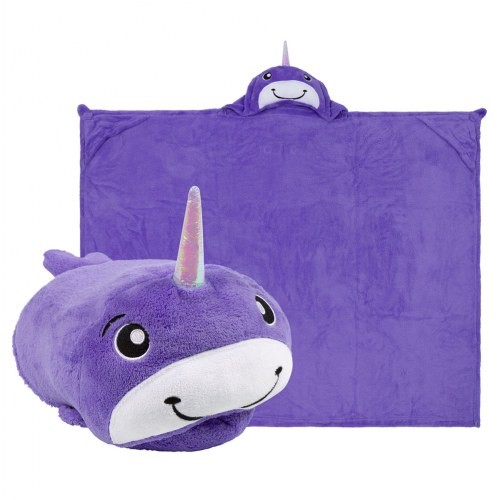 Comfy Critters Hooded Blanket - Nelly Narwhal