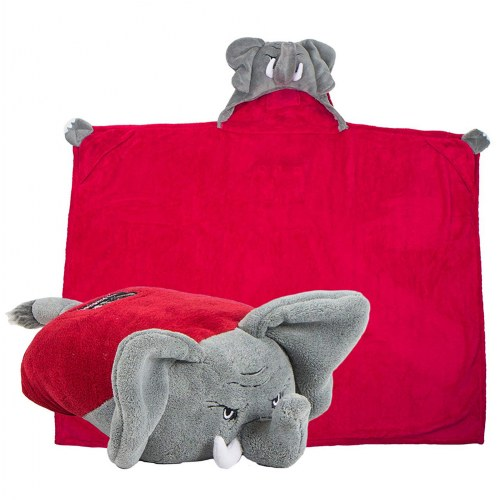 Comfy Critters Hooded College Blanket - Alabama Elephant