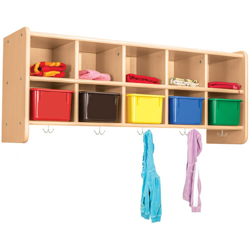 Classic Maple Laminate 10-Cubby Wall Locker