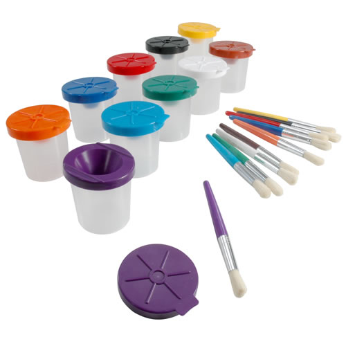 Non-Spill Paint Pots & Brushes Set