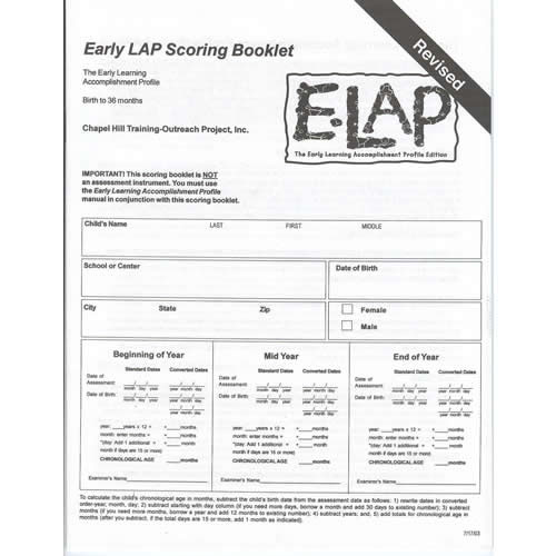 E-LAP™ Scoring Booklets (20) English