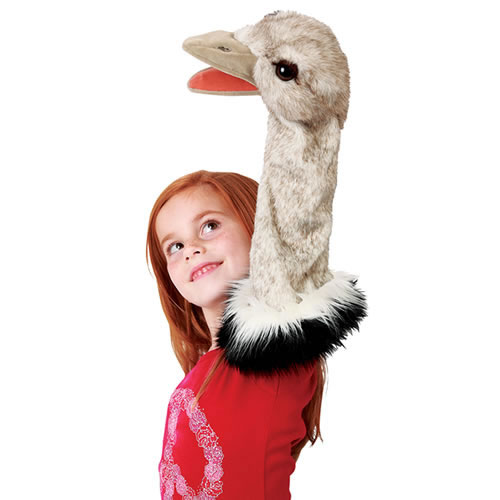 Alternate Image #1 of Ostrich Stage Hand Puppet with Movable Mouth
