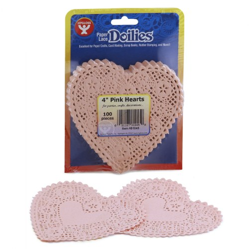 "4"" Pink Paper Heart Doilies - 100 Count"