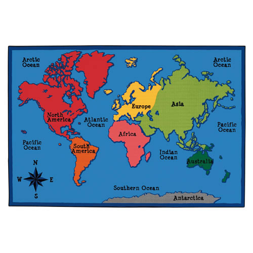 World Map KID$ Value Rug - 4' x 6'