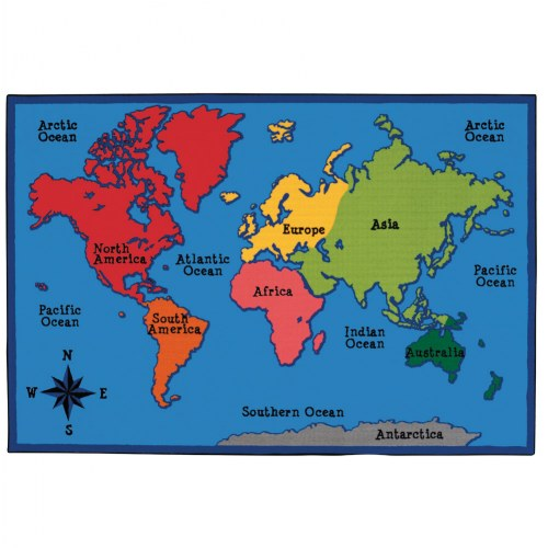 World Map KID$ Value PLUS Rug - 6' x 9'