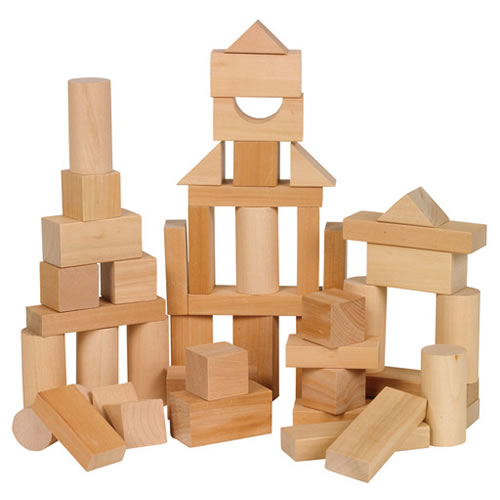 Toddler Wooden Blocks in Assorted Shapes