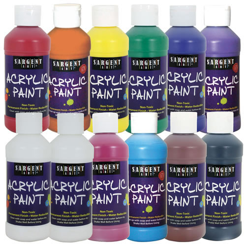 Acrylic Paint Assorted Colors 8 oz. Bottles - Set of 12