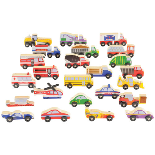 Wooden Transportation Set - Set of 24