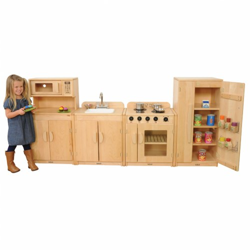 Premium solid maple kitchen set with linking system for Kitchen set for babies