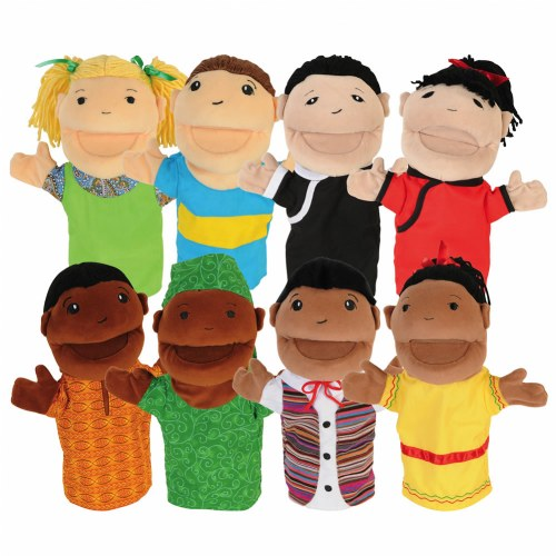 Diversity Hand Puppets with Movable Arms and Mouths - Set of 8