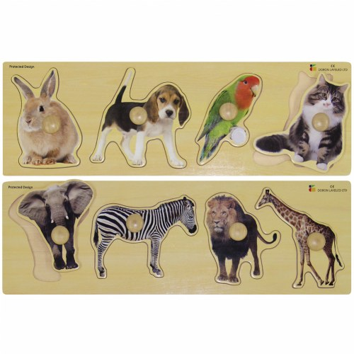 Large Knob Animal Puzzle Set (Set of 2)