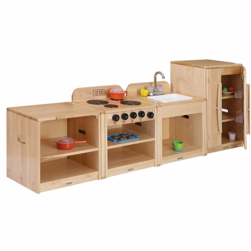 Premium solid maple toddler kitchen units with linking system for Kaplan floor planner