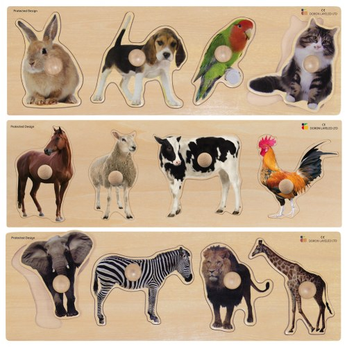 Large Knob Animal Puzzle Set (Set of 3)