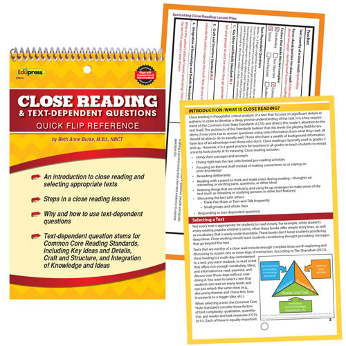 Quick Flip Guide for Close Reading and Text Dependent Questions