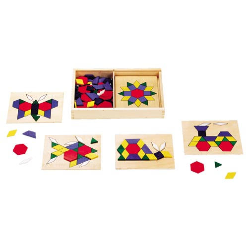 Colorful Pattern Blocks & Boards with Wooden Shape Blocks