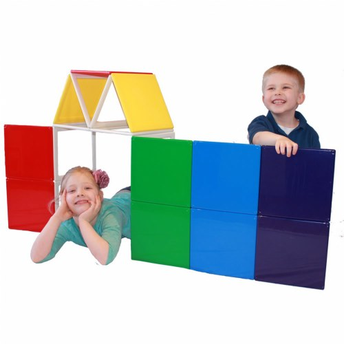 Rainbow Solids Magnetic Building Set - 19 Piece Set