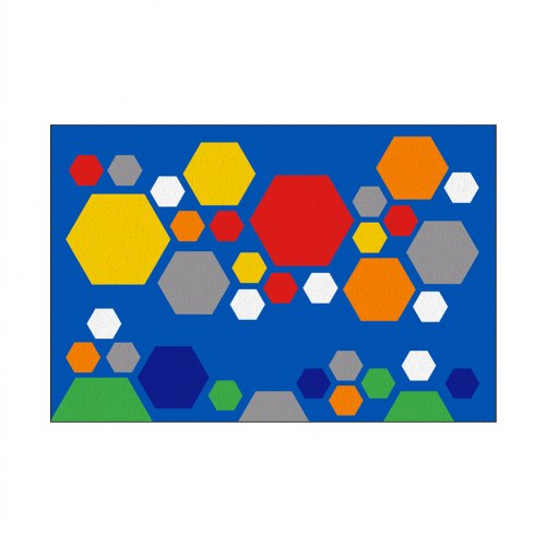 Primary Hexagon Carpet - 6' x 9'