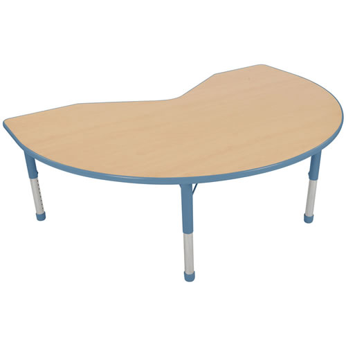"Nature Color Chunky 48x72 Kidney Table with 15-24"" Adjustable Legs - Light Blue"