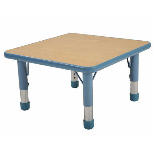 "Nature Color Chunky 24x24 Square Table with 15-24"" Adjustable Legs - Light Blue"