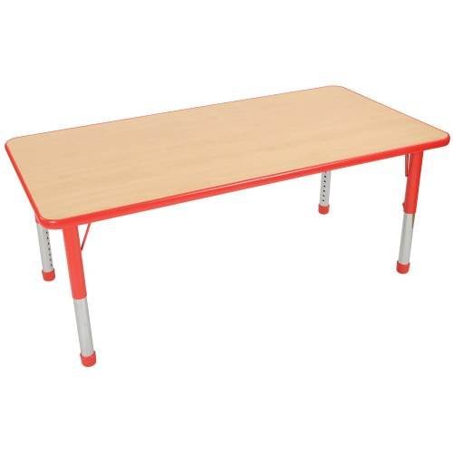 "Nature Color Chunky 30x48 Rectangle Table with 15-24"" Adjustable Legs - Red"
