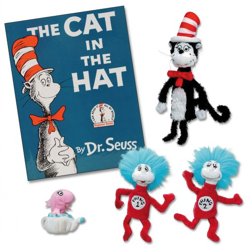 the cat in the hat book and finger puppets