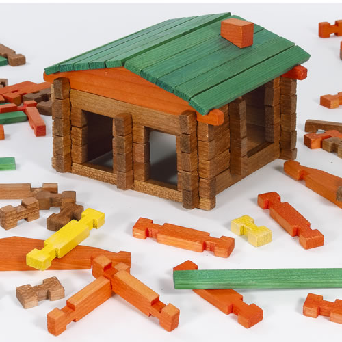 Building Wooden Toys : Deluxe log building set