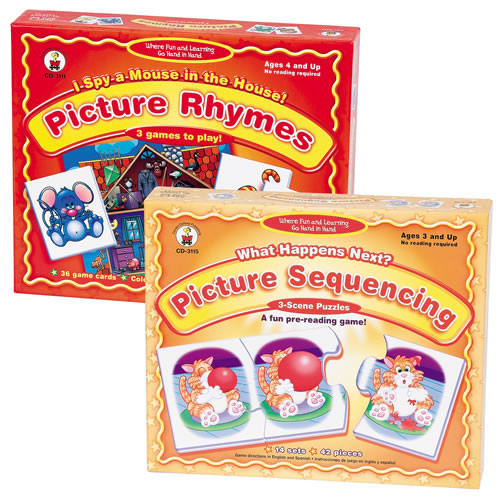 Pre-Reading Skills Set with Rhyming and Picture Sequencing Games