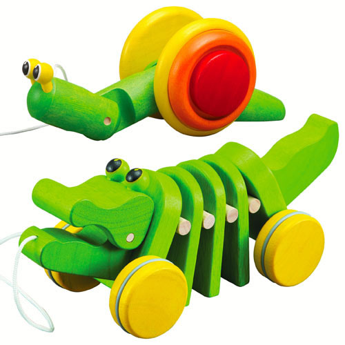 Pull Along Snail and Dancing Alligator Pull Toys