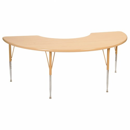 Half Moon Table nature color 36x72 half moon tables (seats 4)
