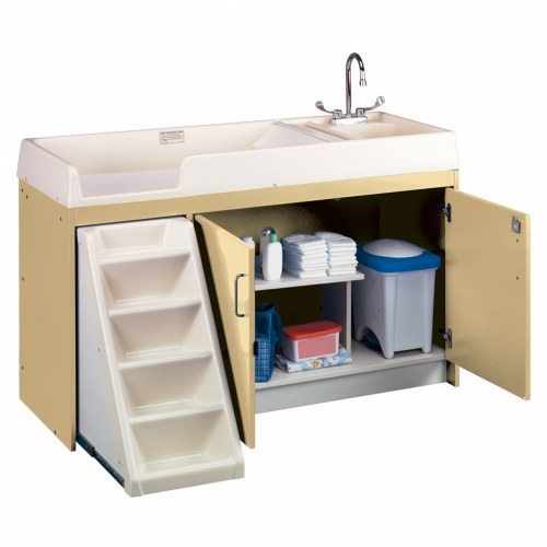 Walk Up Changing Table W/Right Sink/Left Stairs Natural