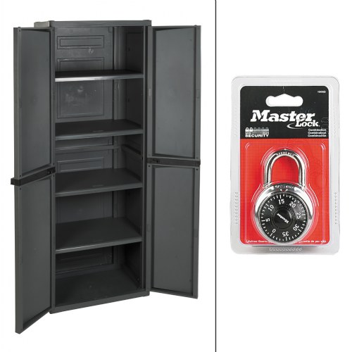 Four Shelf Storage Cabinet With Combination Lock
