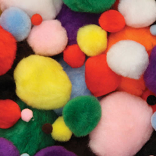 Pom Poms Bright Hues - 100 Count (Assorted Sizes)