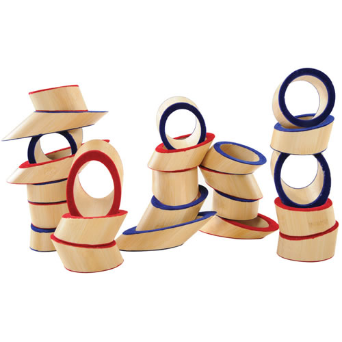 Alternate Image #2 of Totter Tower Bamboo Blocks Angled Stacking Set