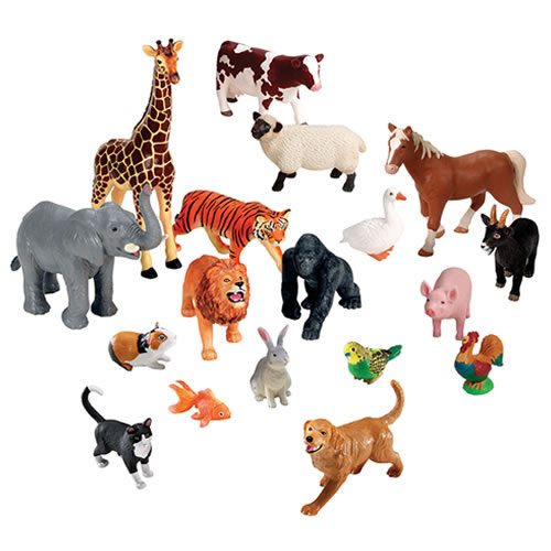Jumbo Animals Set of 18 - Farm, Jungle, & Pets