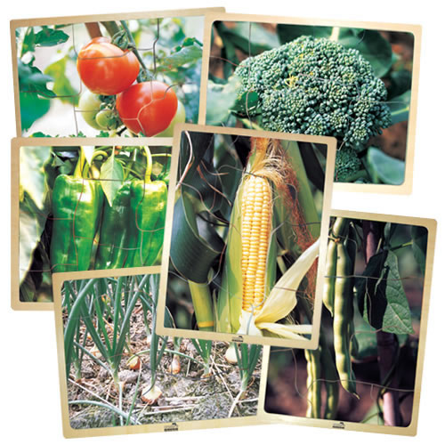 Fresh Vegetables Wooden Puzzles - Set of 6