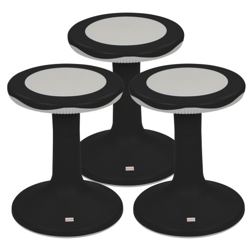 "18"" K'Motion Stool - Black - Set of 3"