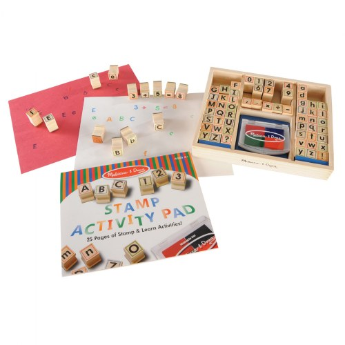 Wooden ABC 123 Stamp Set