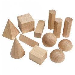 "Grades 1 & up. Students can explore shape, size, pattern, volume and measurement with these invaluable hands-on tools. Smooth wooden cones include sphere, cube, cylinders, pyramid, prisms, hemisphere and rectangular solids, ranging in size from 2"" to 3""."