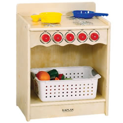 "Encourage dramatic play with a kitchen stove sized just for toddlers! Birch hardwood construction with easy-to-clean laminate top. Dishes and accessories not included. Some assembly required. 23""H x 18""W x 13 1/2""D."