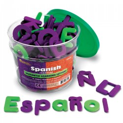 PreK & up. Build words in Spanish or English with these soft foam letters. Includes 120 letters featuring the Spanish alphabet. Consonants are purple and vowels are green.