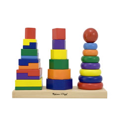 Toddler Wooden Geometric Stacker with Colorful Pieces and Shapes