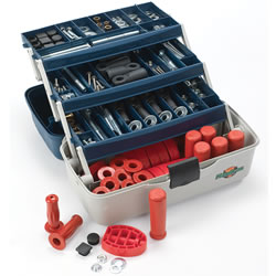 Extend the lives of your trikes with our full service maintenance kit. Most parts can be installed easily with minimum tools and training. Includes pedals, handle grips, pal-nuts, bolts, lock nuts, bearings and more. A total of 194 parts in all! Packaged in a durable partitioned case. Wt 14 lbs.