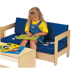 Wooden Frame Cushion Children's Couch - Blue