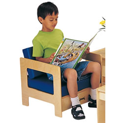 Wooden Frame Cushion Children's Chair - Blue