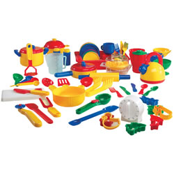 "3 years & up. This complete set has everything you need to set up your kitchen. The set features colorful pots and pans, cups, bowls, dishes, utensils, tea kettle, strainer, pitcher, cookie cutters, roller, juicer and more. 70 pieces in all! Largest piece (dishpan) measures 9 5/8""L x 7 1/2""W x 2""H."
