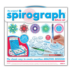 8 years & up. The Spirograph® Delxue Set inspires artists of all ages to create beautiful intricate desgins. The distinctive wheels and rings of the Spirograph® cleverly combine the principles of art and mathematics in a way that has inspired and delighted generations. Put your paper in place, choose a ring and one of 19 different gears to mix and match patterns and pen colors to create a unique and awesome image. Comes with 19 gears, 2 rings, 1 rack, 3 ounces of Spiro-Putty, 3 pens, a 14 page guide book, 20 sheets of paper and a carry along case with build in work surface.          The classic way to create millions of amazing designs. 30 piece set.